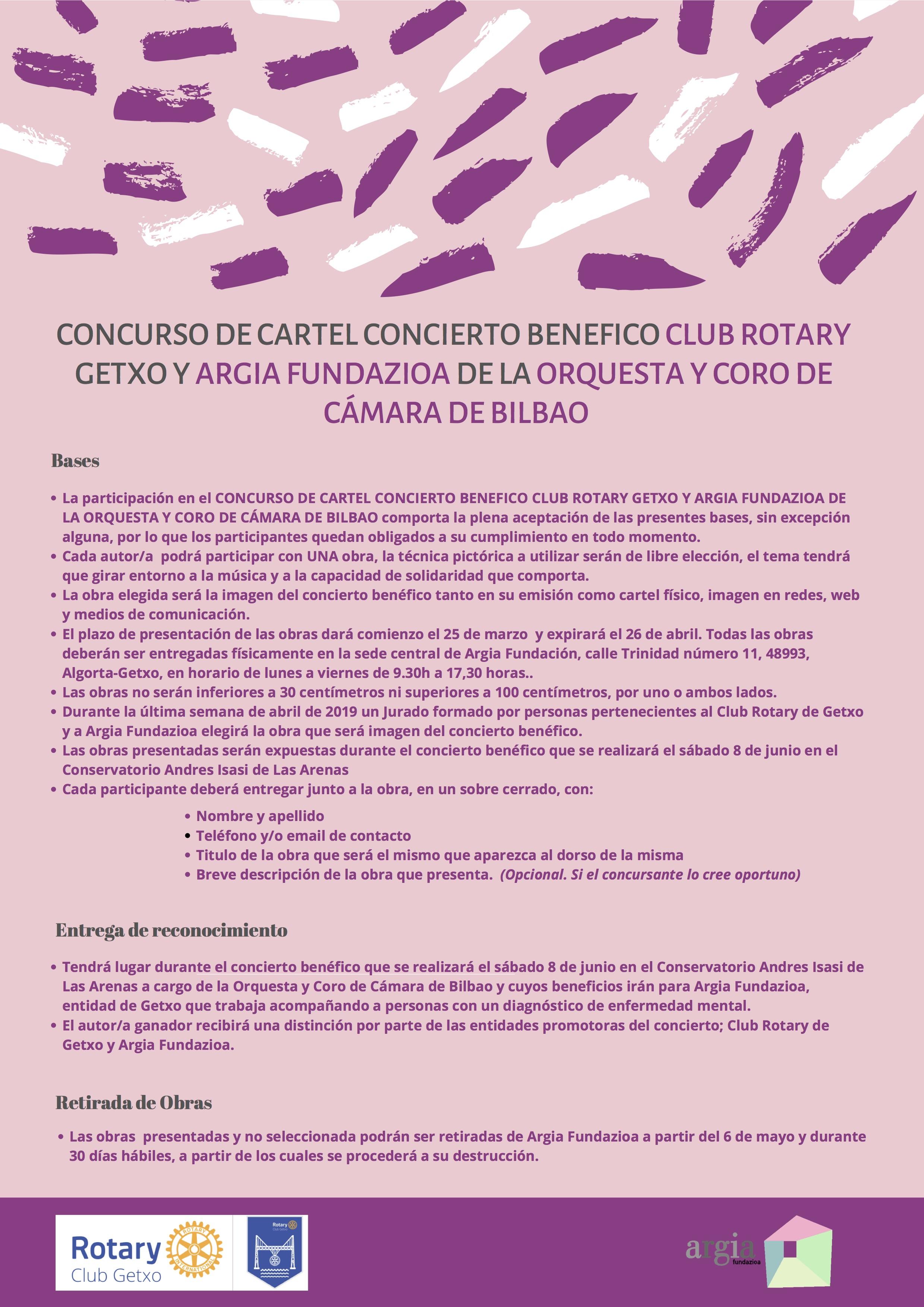 Rotary Club de Getxo y la Fundación Argia, organizan el concurso del diseño del cartel que dará difusión a la segunda edición del concierto benéfico.